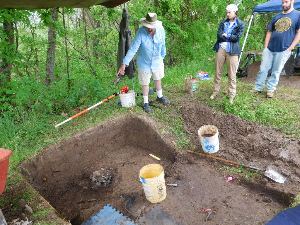 Jeff Mitchem pointing out the presumed cross base to Arkansas Archeological Survey Research Assistants Katie Leslie and Robert Scott, April, 2016. Photo courtesy Jessica Fleming Crawford.