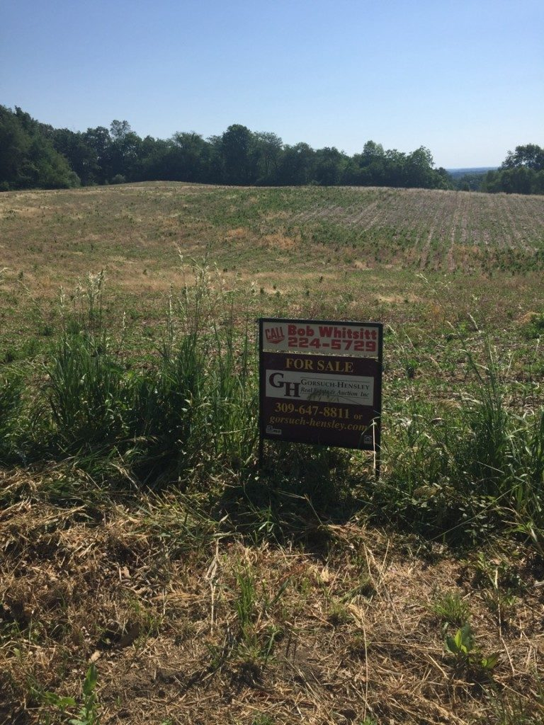 For Sale Sign on land Parcel Near the Dickson Mounds Site. Photo The Archaeological Conservancy.