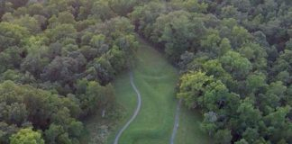 An aerial photograph of Serpent Mound taken from a drone. The mound is a National Historic Landmark. Credit: Jarrod Burks.