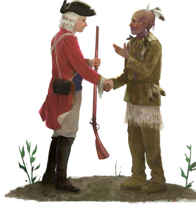 A British soldier shakes hands with a Catawba warrior. A key to the Catawbas' survival during the Colonial era was the military and economic alliance with the colony of South Carolina. Catawba warriors protected the colony from attacks by natives allied with the French and Spanish and served with the English in their frontier wars. In return, South Carolina granted favored trading status to the Catawba and provided them with firearms, ammunition, and supplies that were critical to their survival. Credit: Carolyn Arcabascio.