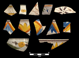 Fragments of polychrome hand-painted pearlware bowls found at New Town. At a time when Catawba potters were producing large quantities of earthenware vessels. Credit Steve Davis.