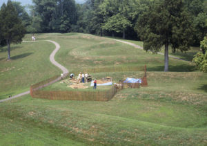 Archaeologists excavate Serpent Mound in 1991. Credit: Ohio History Connection.