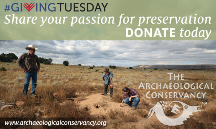 Join us for GivingTuesday and Save Disappearing Archaeological Heritage! Dr. Hannah Mattson working with donors at our 500th site saved. Photo Archaeological Conservancy.