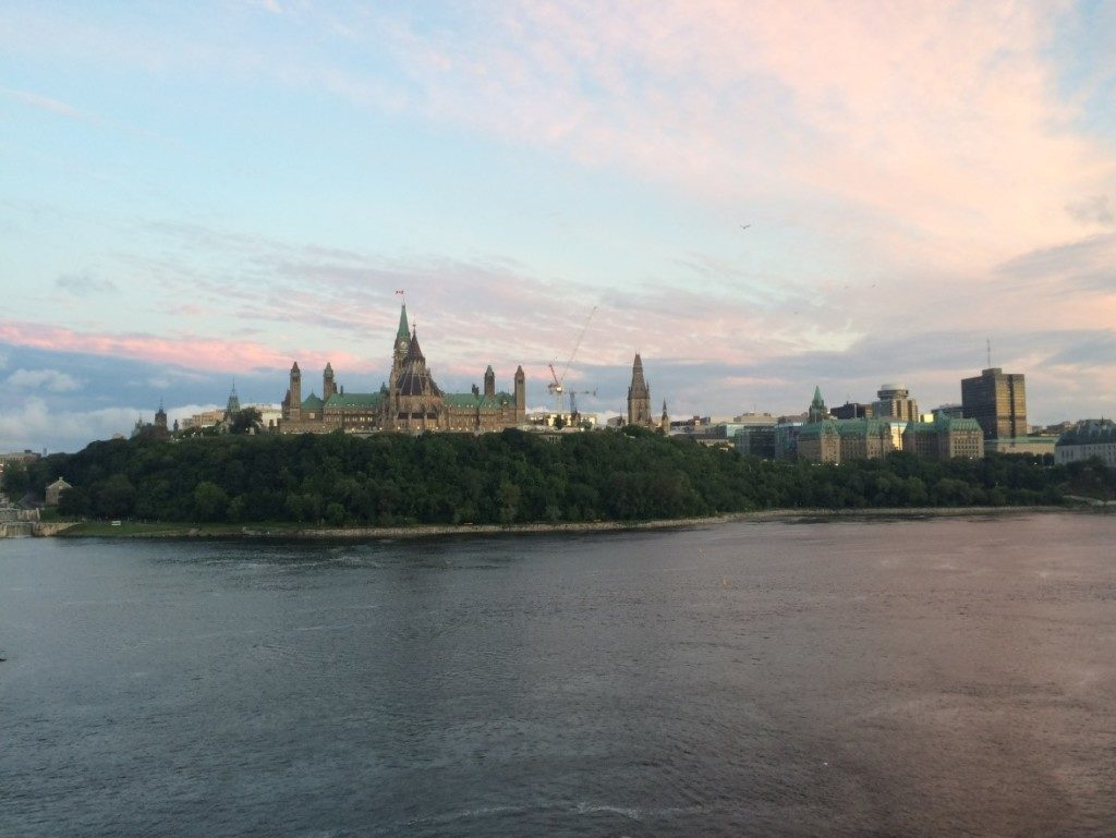 The view of Canadian Parliament in Ottawa, from across the Ottawa River in Gatineau, Quebec.
