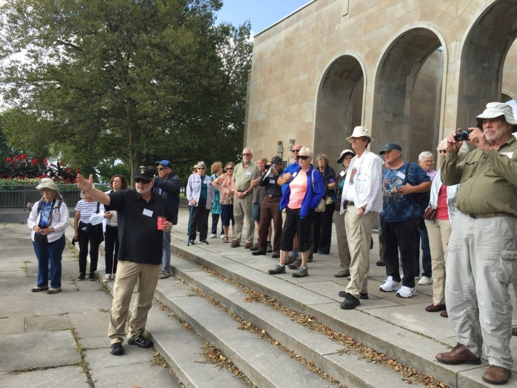 Our guide for part of the week, Canadian archaeologist Dr. Ronald Williamson, introduces the group to the Peace Bridge site, a massive prehistoric site with over 4,000 years of occupation.