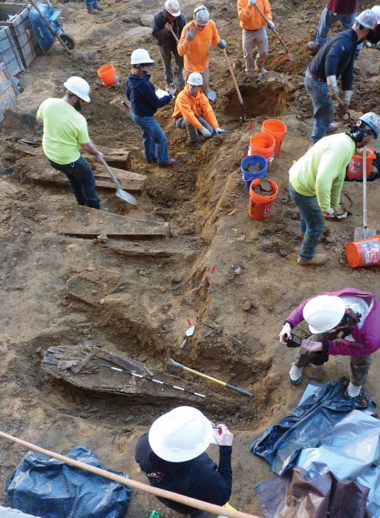 A team of archaeologists and volunteers excavate the site in March. Credit: Mütter Research Institute