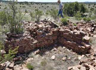 Mark Michel, the president of the Conservancy, walks behind an excavated masonry room. Credit: Jim Walker/The Archaeological Conservancy.