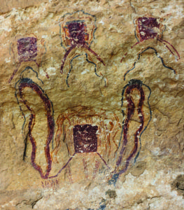 """These enigmatic box-shapes with """"legs"""" are one of the most common motifs in Pecos River-style imagery. Credit: Photo courtesy of Shumla Archaeological Research and Education Center"""