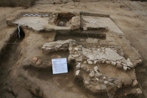 An excavated structure with plaster floors and a hearth. It may have been used as a textile workshop before the Spanish Conquest. Credit: Courtesy of Tlaxcallan Archaeological Project