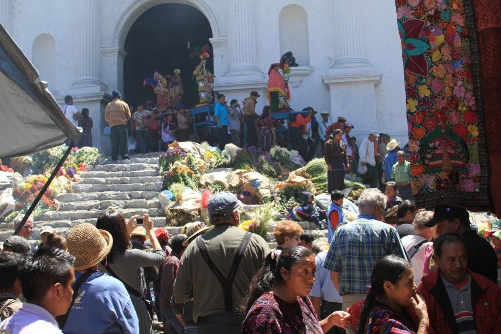 Market Day on the steps of Santo Tomas Church on the main square, Chichicastenango