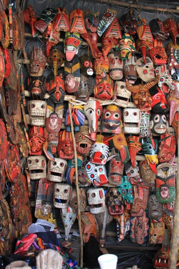 Masks for sale in the market, Chichicastenango