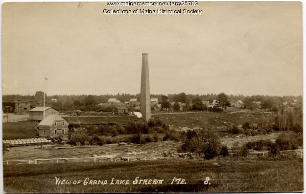 A photo of the Grand Lake Stream Tannery that was also built by Shaw & Brothers. It was the largest tannery the company built. This photo shows how the tannery's chimney appeared in ca. 1914, long after a fire destroyed part of the tannery in 1887. Photo courtesy of Maine Historical Society.