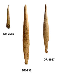 Three bone artifacts that were recovered from a prehistoric Iroquoian village known as the Droulers site. The usewear patterns on these artifacts suggest they served as tattooing needles. Credit: Christian Gates St-Pierre