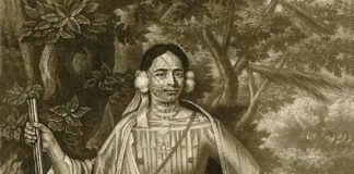 This portrait painted in 1710 shows the extensively tattooed Mohawk leader Sa Ga Yeath Qua Pleth Tow. Credit: Mezzotint by John Simon, after painting by John Verlest