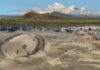 An artist's depiction of the Hohokam gathered at one of their ballcourts. Credit: Artwork by Rob Ciaccio, Courtesy Archaeology Southwest.