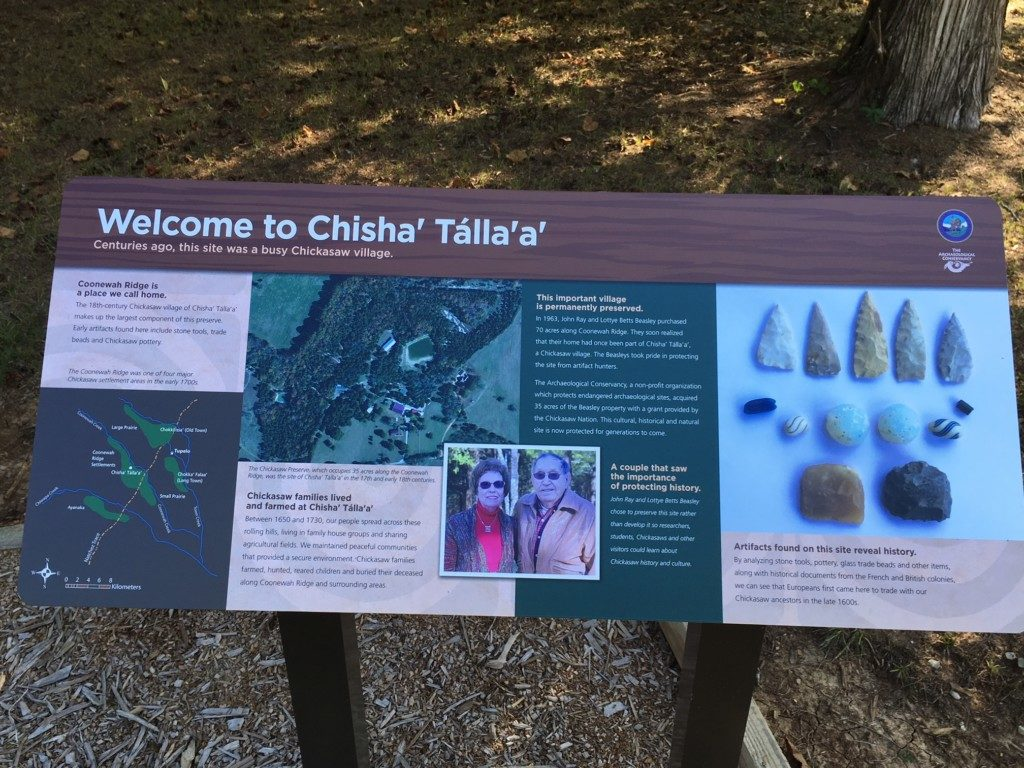 Welcome Signage at Site Visit to Chisha'talla'