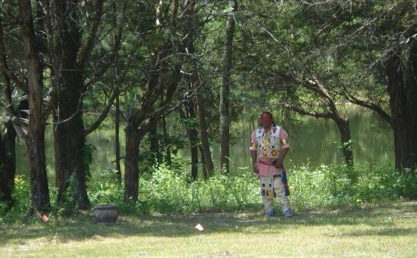 a member of the Chickasaw Nation Dance Troupe taking a break when they visited the site in 2009