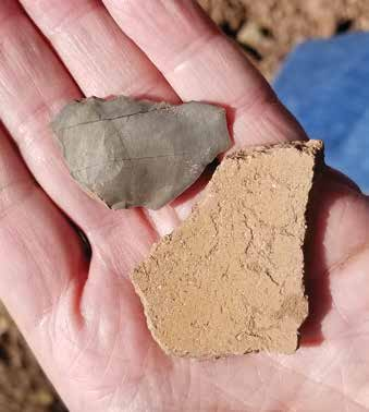 A flake (top) and a sherd found on the site. Credit: The Archaeological Conservancy.