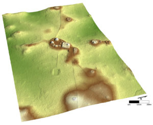 A terminus is seen in the center of this LiDAR image. The several lines leading to the terminus represent ancient Maya roadways, one of which is connected to a large reservoir at the bottom of the image. Credit: Courtesy of A.F. and D.Z. Chase, Caracol Archaeological Project