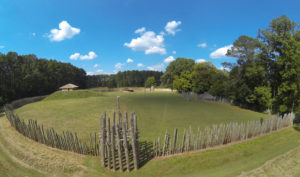 Portions of the Town Creek village site have been reconstructed based on archaeological evidence. Credit: Mark Cawley