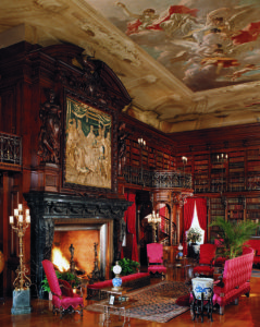 "George Vanderbilt was an avid reader, as demonstrated by his library in Biltmore House, which contains more than 10,000 books. So many treasures are found in this Library. The dramatic ceiling painting, titled ""The Chariot of Aurora,"" originally graced the ceiling of the Pisani Palace in Venice. Credit: The Biltmore Company"