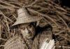 Ed Carriere weaves a cattail basket. He also wove the cedar-bark vest and cedar-bark hat he's wearing. Credit: FREDRICK DENT