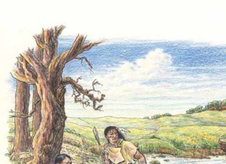An artist's depiction of Paleo-Indians at Wakulla Springs. The man on the left is working a mastodon tusk. Credit: Barbara Taillefer.
