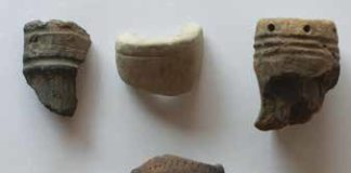 Various pipe bowl fragments were also found at Shelby. Credit: DOUGLAS J. PERRELLI, ARCHAEOLOGICAL SURVEY, DEPARTMENT OF ANTHROPOLOGY, UNIVERSITY AT BUFFALO