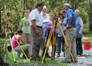 The ARI crew gets instructions on how to operate a total station. Credit: Joseph Latvis