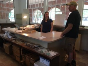 In the Wakulla Springs concession stand that the Lodge has loaned to the Institute to use as a temporary laboratory for artifact processing & storage. Well-attended daily public tours are offered to explain the project & their findings so far.