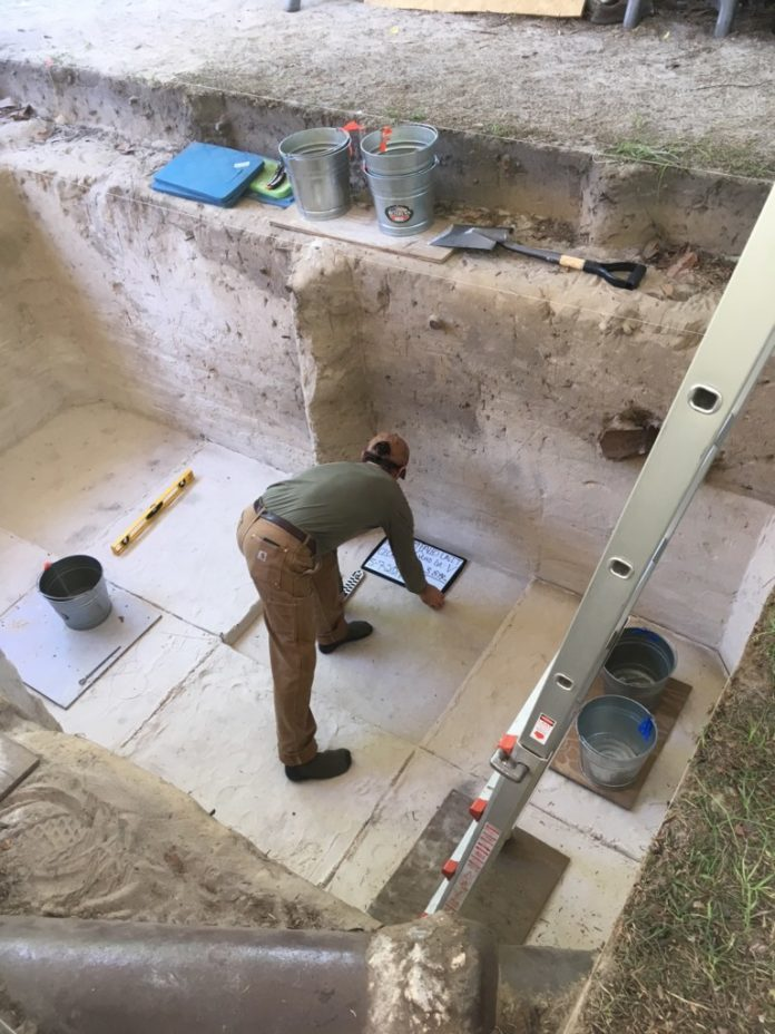 Getting ready for the final photos of the excavation pit at the Paleo through Archaic period Wakulla Springs Lodge site.